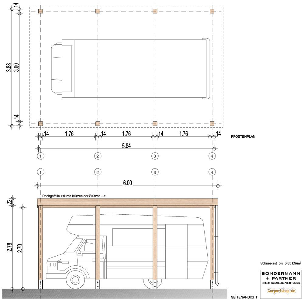caravan carport grundkonstruktion 4x6 typ 280 ohne. Black Bedroom Furniture Sets. Home Design Ideas