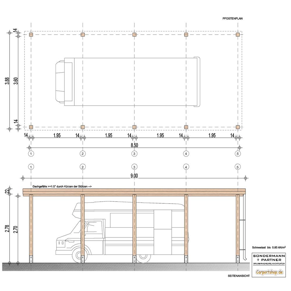 caravan carport grundkonstruktion 4x9 typ 280 ohne dachbelag. Black Bedroom Furniture Sets. Home Design Ideas