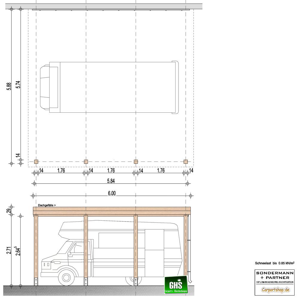 Caravan-Anbau-Carport, Grundkonstruktion 6x6 - Typ 280
