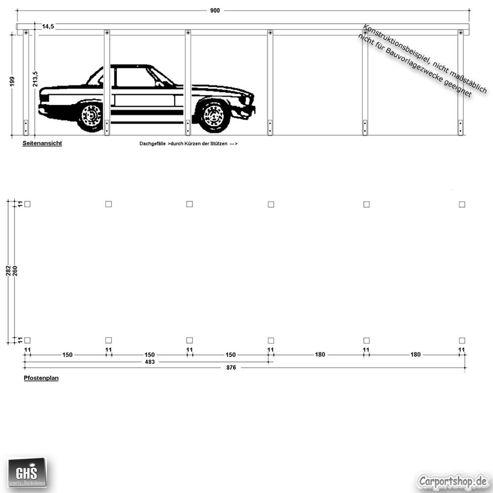 carport 3x9 mit st tzen 11x11 cm. Black Bedroom Furniture Sets. Home Design Ideas